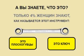 Только 4% женщин могут назвать эти 10 инструментов